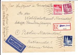 Phila Inlandsluftpost-Einschreiber nach Berlin, während der Blockade. Interessante Zähnung, Behelfs-R-Zettel 85 Pf, vormals 30 ?