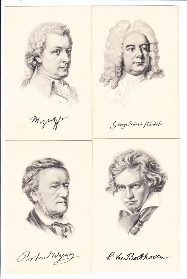 10 Komponisten Beethofen, Mozart, Händel, Wagner, Chopin, Rubinstein, Liszt, Brahms etc.