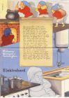 BEWAG Faltprospekt, elektrisches Kochen + Heißwasser, phantasievoll, 1938, 43,5 x 21 cm
