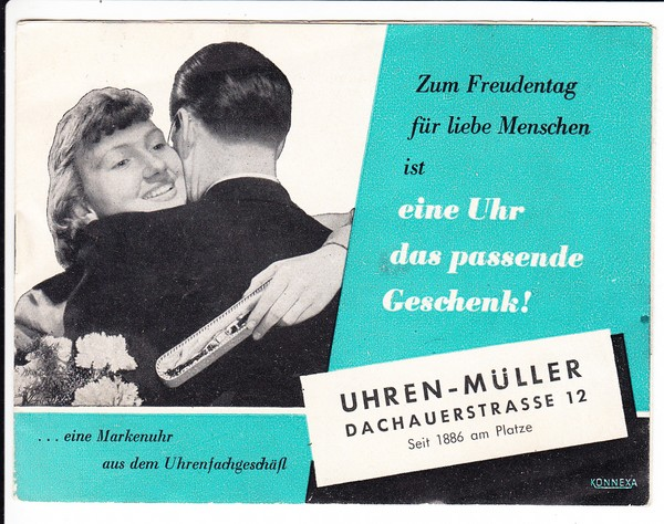 Prospekt, Uhren-Müller, Dachauerstraße 12, München, gibt es längst nicht mehr!