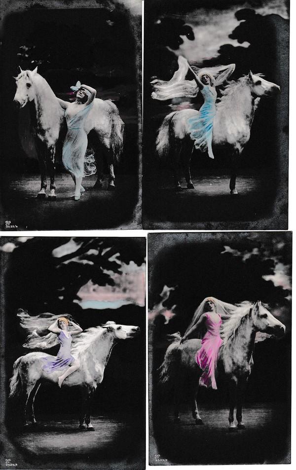 6er Serie Handcoloriert, verhüllte Frauen vor dem Ausritt auf ihrem Schimmel