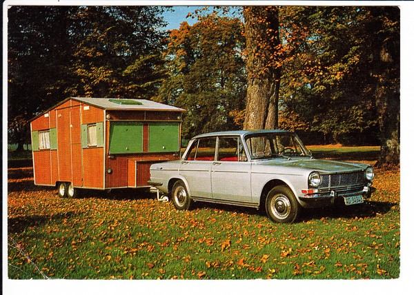 Simca 1500, total schönes, heute gesuchtes Auto, der schweizer Wohnwagen wohl auch. Preisausschreiben-Post 1981