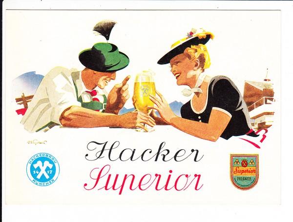 Hacker, Superior, sign. P.O.E Verlag Mühlthaler, ca. 1925/30, ungelaufen, beste Erhaltung