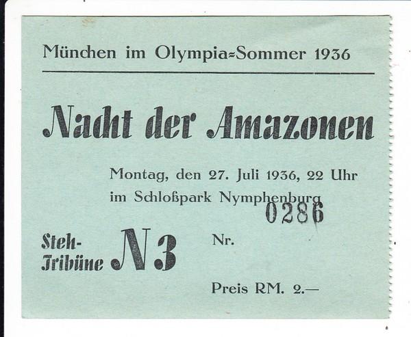 Karte für die Nacht der Amazonen in München 1936, sehr rar!