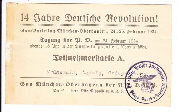1920-1934, 14 Jahre Revolution, Teilnehmer Ludwig Grünewald, Gmund/Tegernseee (gab es dort Nazis??) Tagung in München, VS: Haftspur, Karte A sehr rar!