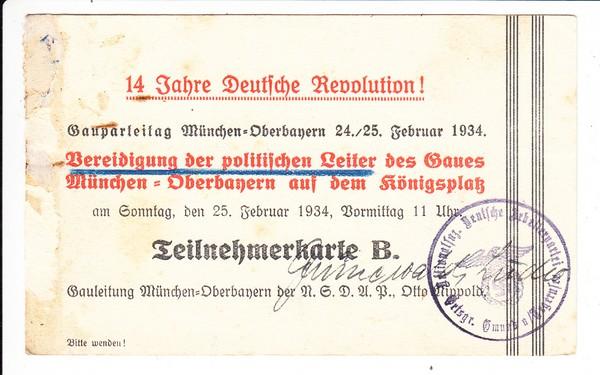 1920-1934, 14 Jahre Revolution, Teilnehmer Ludwig Grünewald, Gmund/Tegernseee (gab es dort Nazis??) Tagung in München, VS: etwas kräftigere Haftspur, Karte B sehr rar!