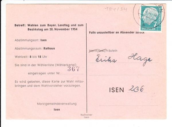 Isen, Bayrische Landtagswahl 1954, Einladung zur Wahl am 28.11.1054