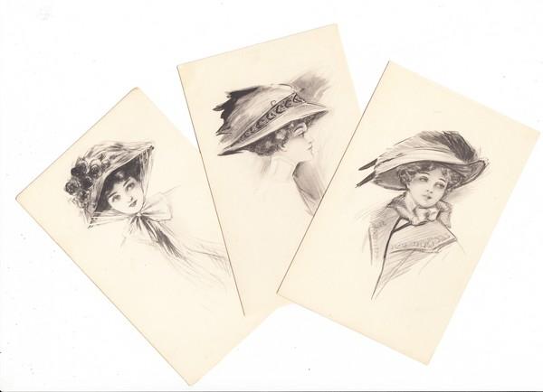 6 Jugendstil-Frauen mit urigen Hüten