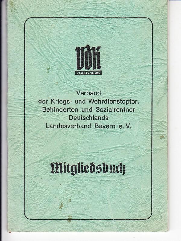 VDK-Mitgliedsbuch ca. 35 Beitragsmarken