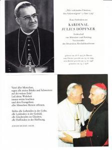 3 Gebets-/Sterbebilder Döpfner, Ratzinger, Johannes Paul II