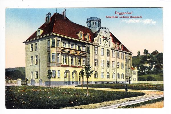 Deggendorf, color AK, ungelaufen, Königliche-Ludwigs-Realschule