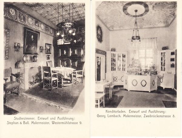 Ak München Speisezimmer Ausstellung Bemalter Wohnräume 1910