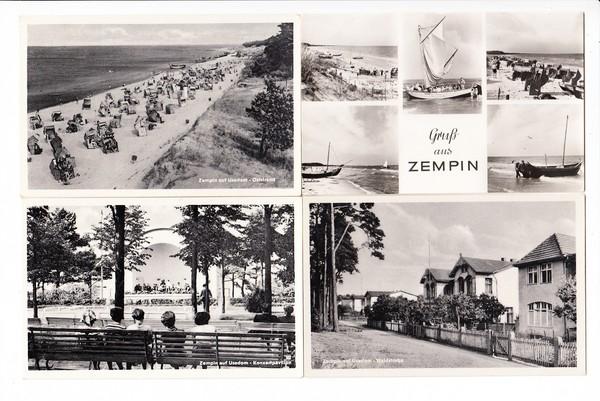 Zempin, 10 s/w AK frühe DDR, Kleinformat, ungelaufen, 5 x Strand, 5 x besser, beste Erhaltung. Preiswert
