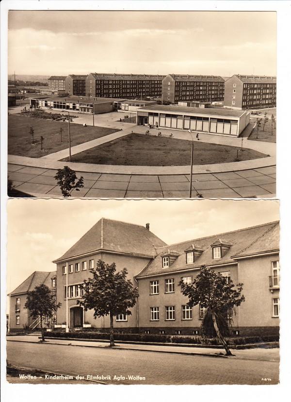 Wolfen, Orwo/Agfa/Chemie, 2 DDR-typische AK, mit Inlandsporto nach Ungarn, gelaufen