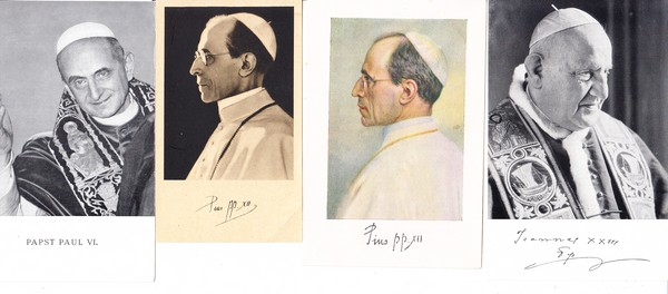 8 Gebetszettel für Päpste Pius XI, Pius XII, Johannes XXIII, Johannes Paul I + II