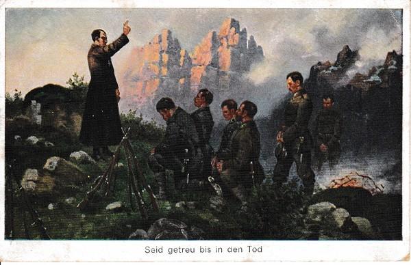 Katholischer Priester vor bayrischen Gebirgsjägern. Sollst Du nicht nicht töten? Ansenkelnde Karte! Gelaufen