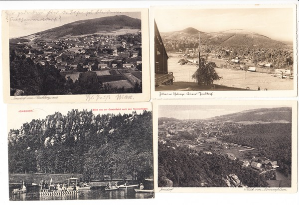 Kurort Jonsdorf, 7 AK, gelaufen, 5 x Dt. Reich, 2 x frühe DDR, 1 x Bahnpost, gute Erhaltung