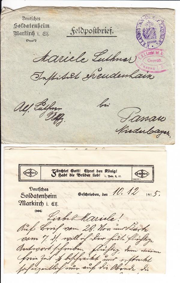 Dekorativer Brief Markirch-Passau 19195