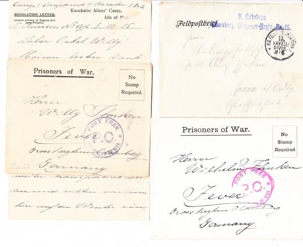 1. Weltkrieg, 6 Briefe an den oldenburgischen Hofbäcker Ihnken, 2 x von der Front, 4 x aus der engl. Gefangenschaft, Isle of Man, kleiner Posten
