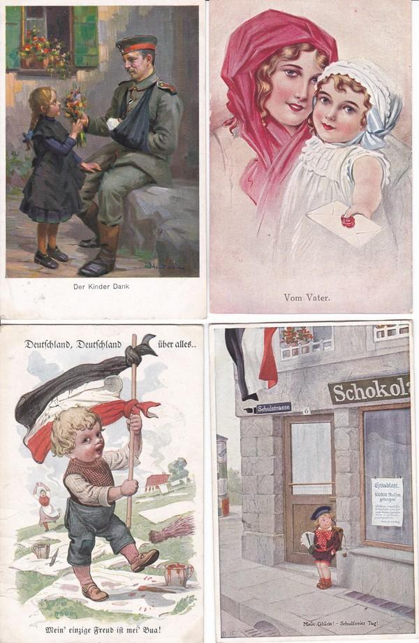 Kleine thematische Sammlung, 10 Pracht color AK Kinder/Krieg/Verharmlosung, alles Feldpost an gleiche Adresse 1915 und 1916, gute Künstler Fialkowska, Carl Moos (!) etc. etc 0