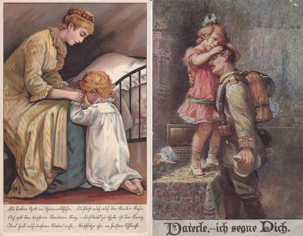 Kleine thematische Sammlung, 10 Pracht color AK Kinder/Krieg/Verharmlosung, alles Feldpost an gleiche Adresse 1915 und 1916, gute Künstler Fialkowska, Carl Moos (!) etc. etc 1