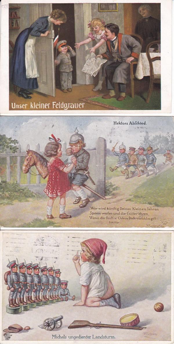 Kleine thematische Sammlung, 10 Pracht color AK Kinder/Krieg/Verharmlosung, alles Feldpost an gleiche Adresse 1915 und 1916, gute Künstler Fialkowska, Carl Moos (!) etc. etc 2