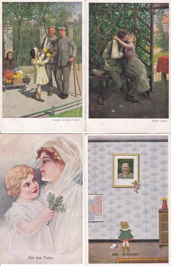 Kleine thematische Sammlung, 10 Pracht color AK Kinder/Krieg/Verharmlosung, alles Feldpost an gleiche Adresse 1915 und 1916, gute Künstler Fialkowska, Carl Moos (!) etc. etc 3