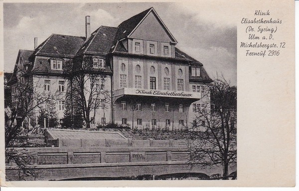 Ulm, Klinik Elisabethenhaus, Michelsbergstraße 12, Feldpost 1944 ab dortselbst, klarer FP-Stempel des Hauses