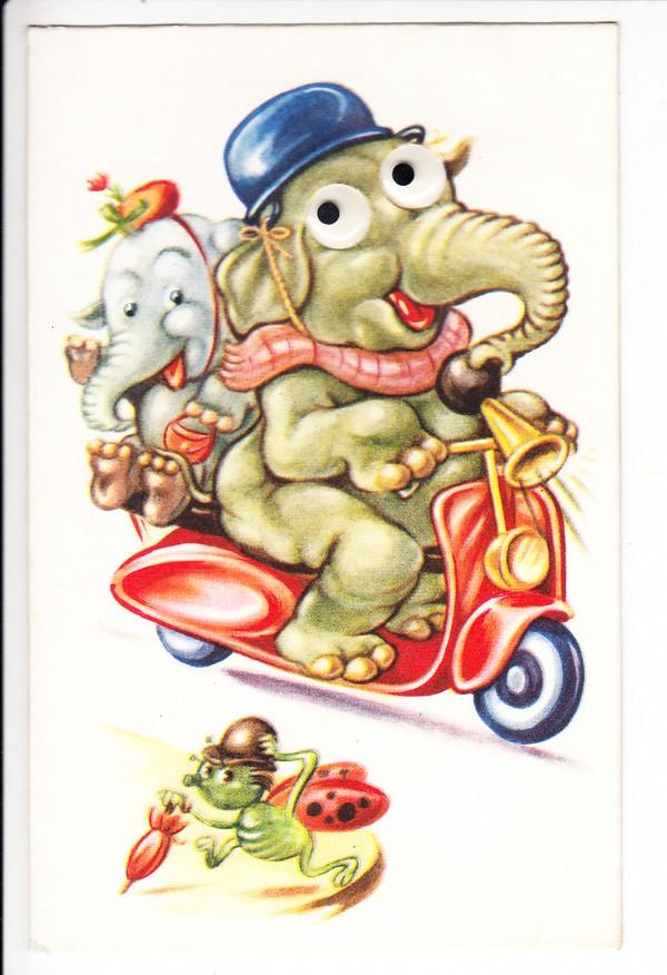 Nette Motorroller-Humor-AK, Wackelaugen