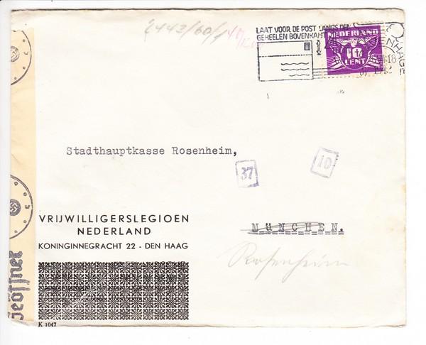 Niederlande 1942, Brief an deutsche Stadtkasse, interessanter Zensuraufkleber + Stempel