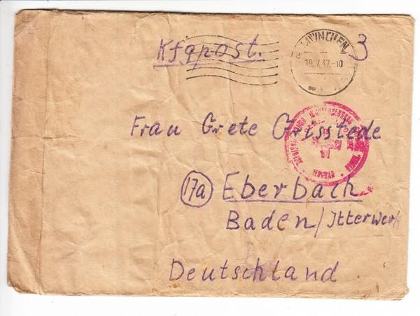 Kriegsgefangenen Post Jugoslawien - Baden, 1947, geknittert aber Zensur und wohl Bedarf