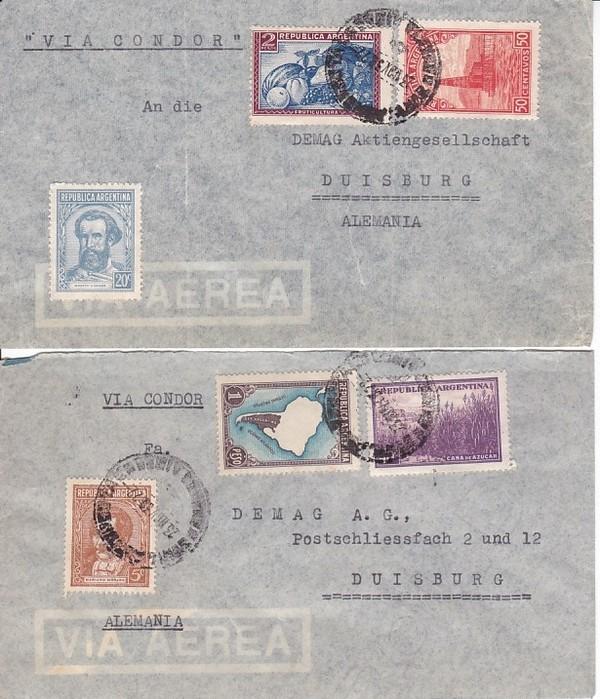 2 Briefe 1938, Argentinien - Deutschland, Erh. i.O.