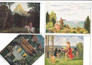 9 color-Kunst-AK, Verlag Bruckmann, sign. Einbeck, beide München, ungelaufen