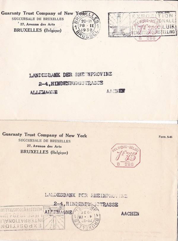 2 Belege USA-Bank 1930 in Belgien nach Aachen Reparationspost