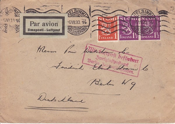 Luftpostbrief 1930 Helsinki-Berlin, alle Stempel, Erh. i.O.
