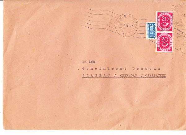 Verkehrsausstellung 1953, 3 Vignetten auf Brief