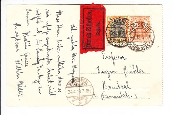 Bessere Zeppelin Ak Als Eilkarte 41918 Karlsruhe Bruchsal