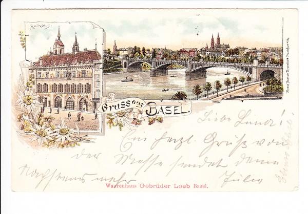Basel, col. Litho., gel. 1898, beste Erh., preiswert