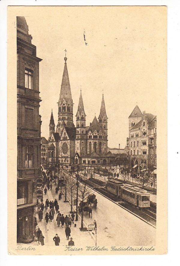 Berlin - Hannover, lupenreiner Oval-Stempel 1928, Bildseite Straßenbahn