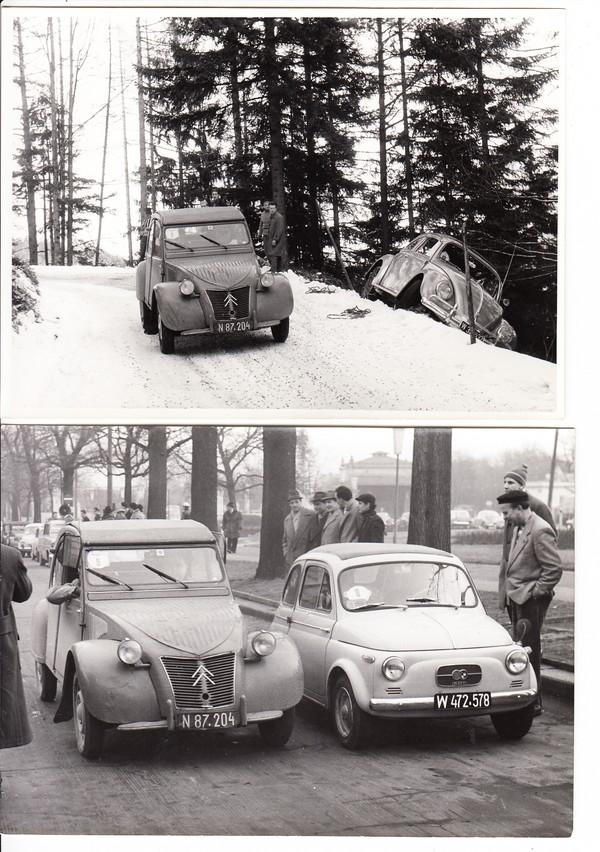 5 Pressefotos Citroen, Ente = 2CV, 1960 ÖaMTC-Wartungsfahrt. Extrem dünne Räder, die überall durchkamen. Der abgeschmierte Käfer dürfte der Realität entsprechen