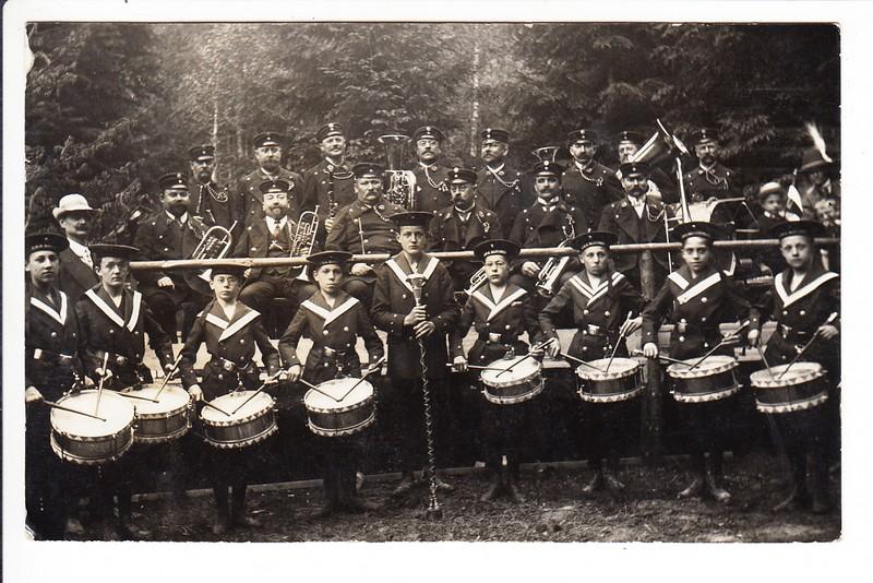 O-Foto München, gel. 1912, portofrei! Münchner Marinejugendkapelle, Text!