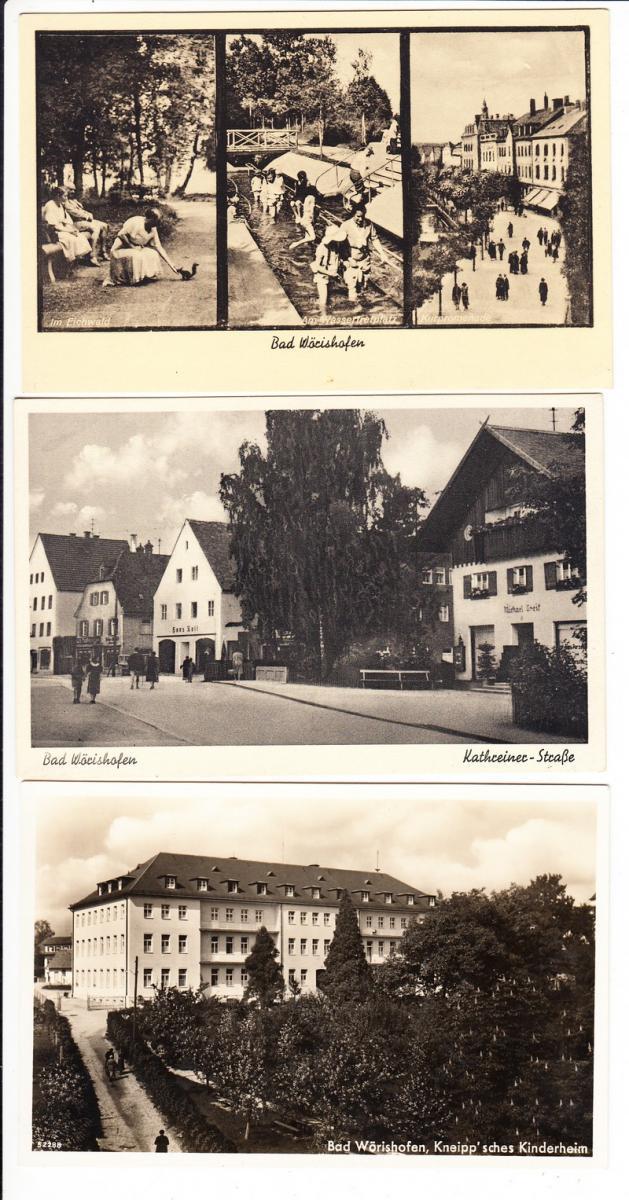 Bad Wörishofen, 3 besterh. Vorkriegs-Karten