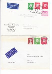 4 Spannende Bedarfsbriefe, beste erh. Berlin - Wien, Bundestheaterverwaltung. Gleiches Porto, aber je andere Frankatur, 4 Top-belege