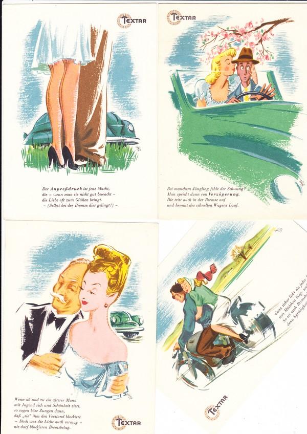 """4 zeitgemäße, fröhliche Karten ca. 1954/55, ungel. beste Erh. """"Sex sells"""""""