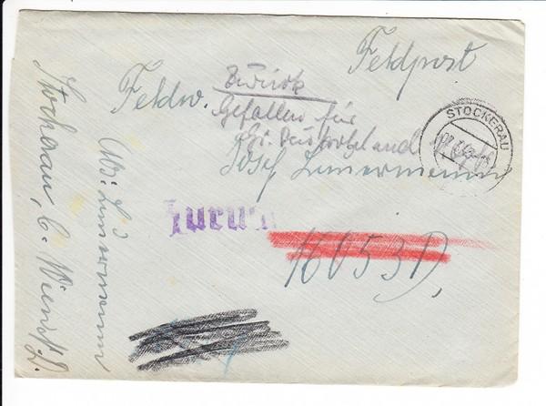 """Brief Heimat - Front 2.3.43 nach Stalingrad, nun """"Empfänger gefallen für Großdeutschland"""""""