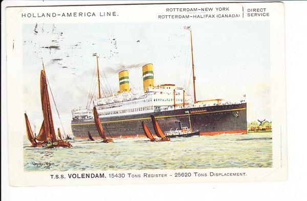T.S.Volendam, col.AK, gel 1937, Schiffspost, britisch nach Deutschland, Nachporto!