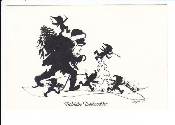 Dez. 1942 gelaufener Scherenschnitt Weihnachtsmann, beste erh.