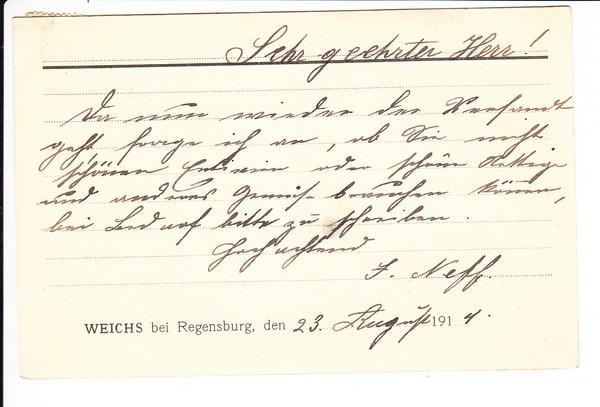 Weichs/Reinhausen netter Regensburg-Beleg 1914