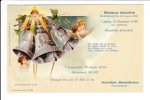 """"""" Münchner Salonblatt"""" eigenwillige, aber gute Weihnachts-AK, Ortsporto, beste Erh., haben wir noch nie gesehen!"""