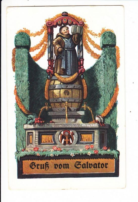 Oktoberfestmaler Luber, Col-AK zum Salvator, RS: Beistempel Salvatorkeller